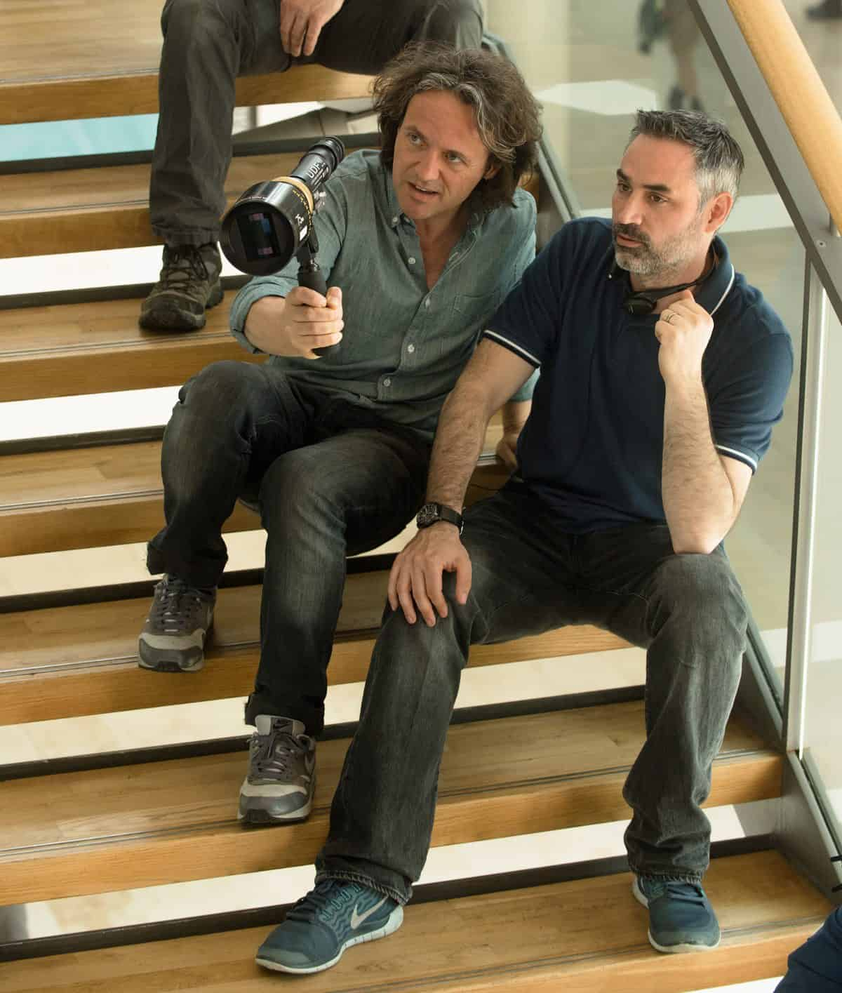 Director of photography Rob Hardy and director Alex Garland on the set. <br>Photo Credit: Peter Mountain