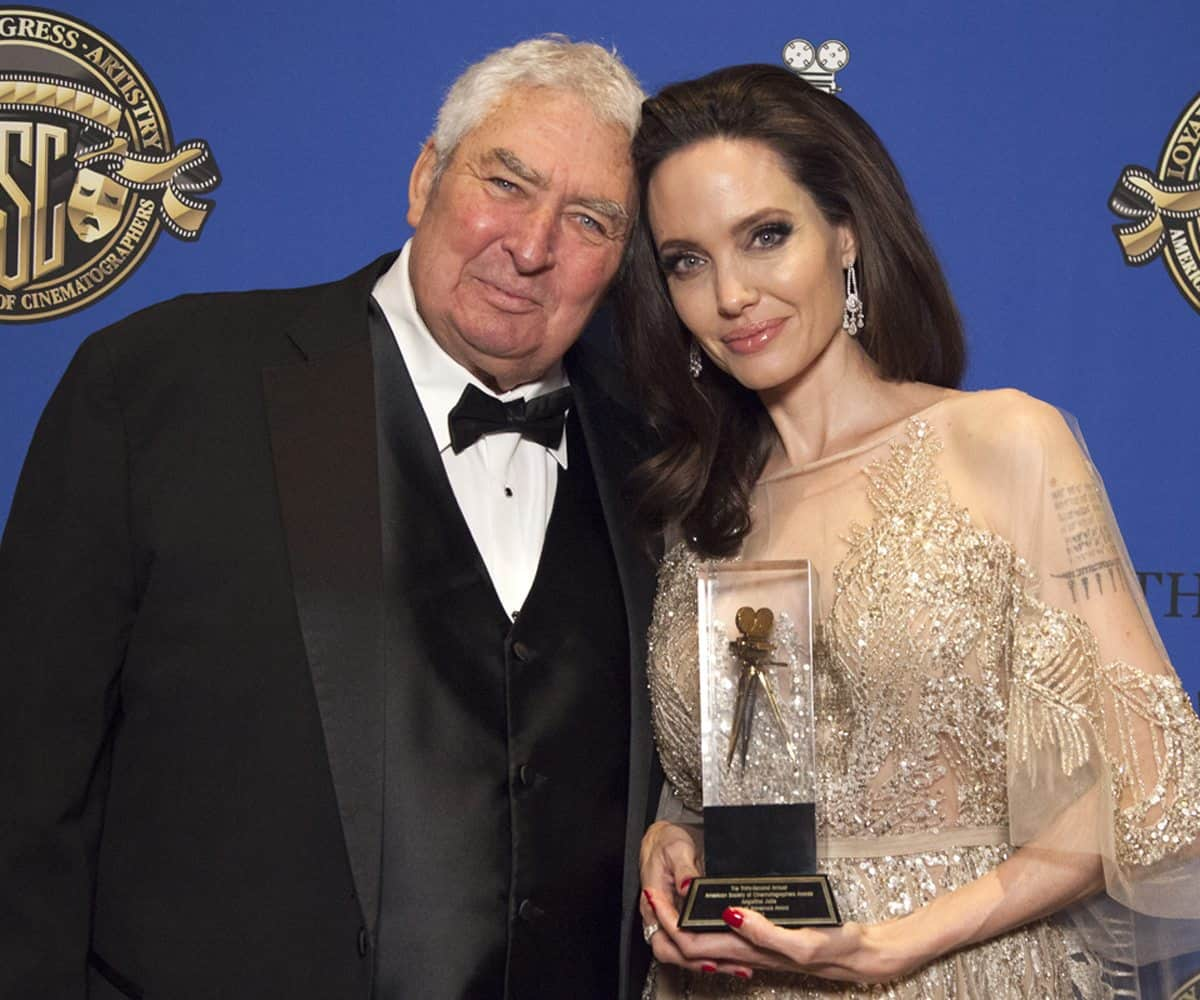 Angelina Jolie with the Board of Governors award, presented by Dean Semler ASC ACS. <br>c/o Lisa Muldowny, Ignite Strategic Comminications