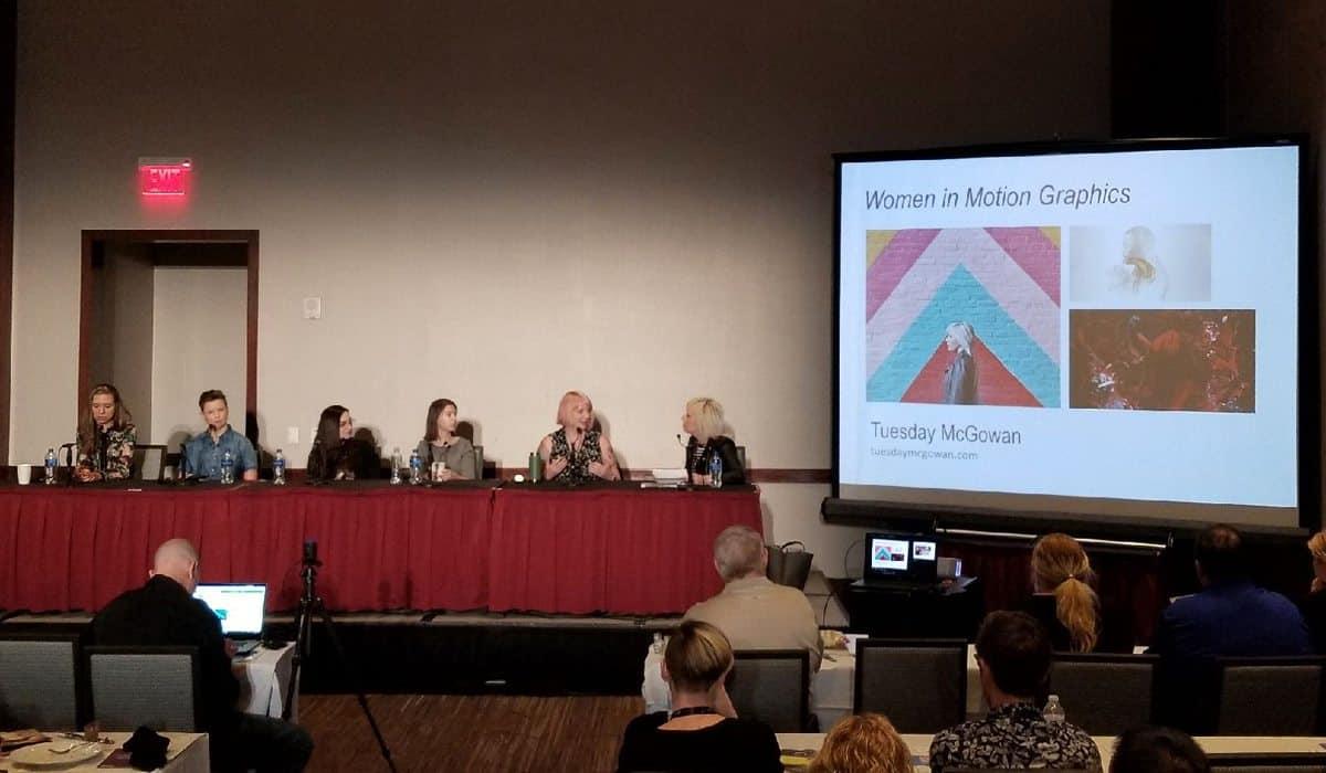 (l-r) Panellists Julia Siemón, Robyn Haddow, Sarah Wickliffe, Caitlin Cadieux, Penelope Nederlander and moderator Tuesday McGowan