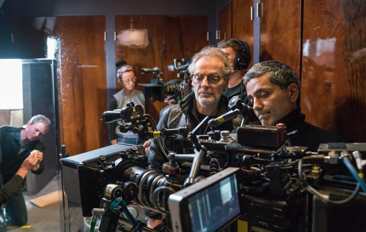 (l-r) On Set Dresser John Ryder, B Dolly Grip Teresa Hays, DP Dan Laustsen, Boom Operator Peter Stevenson, Director Babak Najafi