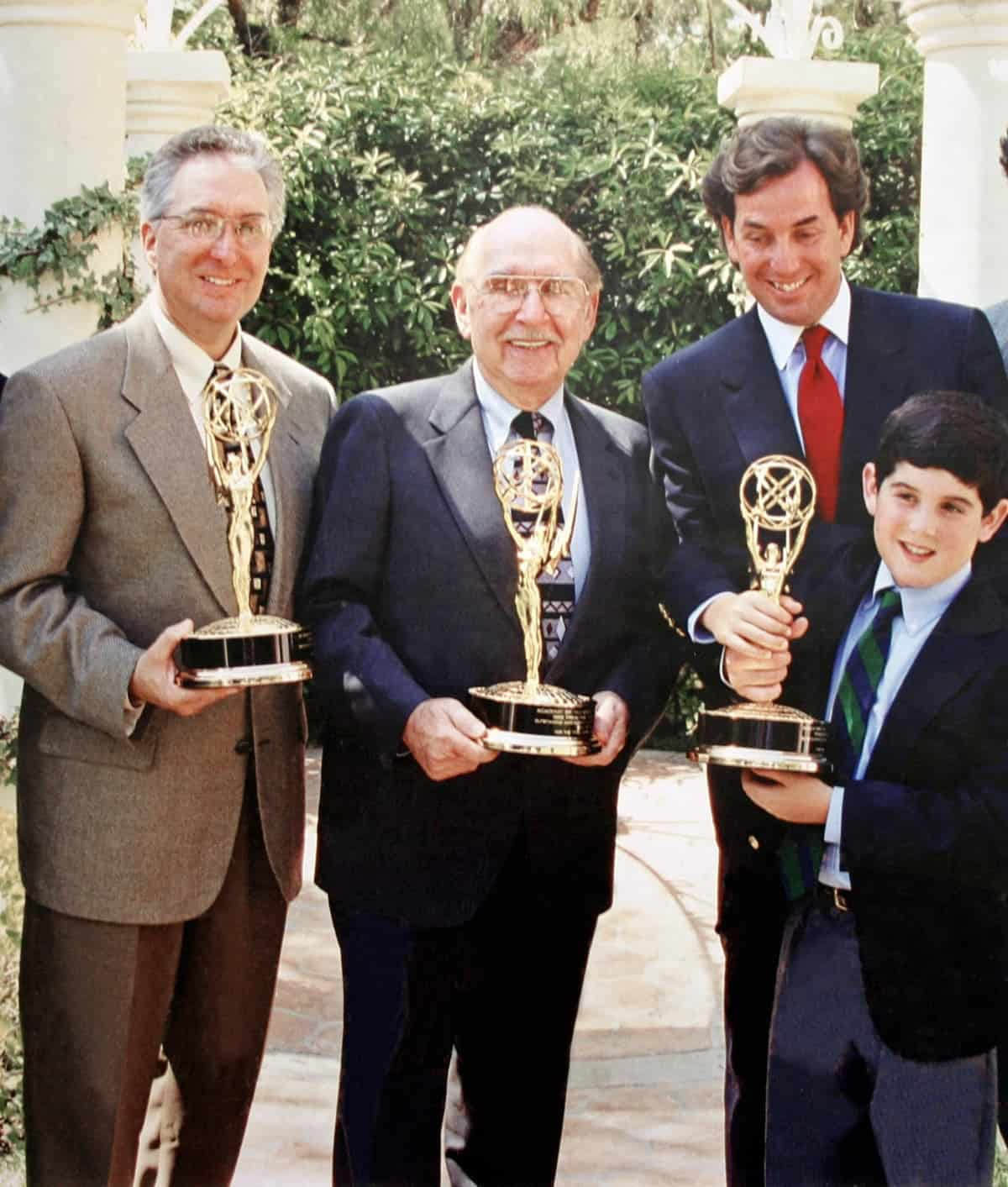 Ira Tiffen, Nat Tiffen, Steven Tiffen & Andrew Tiffen with Emmy Awards