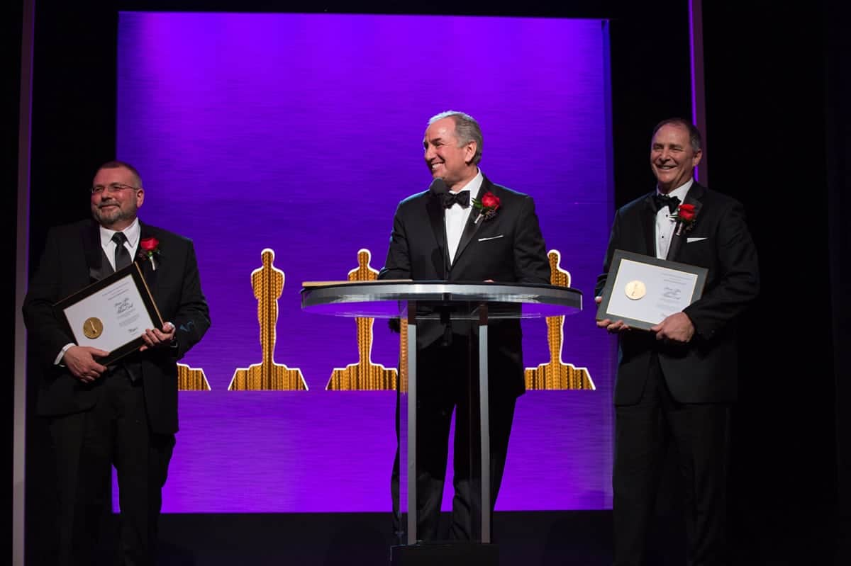 Mike Fecik, Steven Tiffen & Jeff Cohen accept the SciTech Oscar for IRND Technology