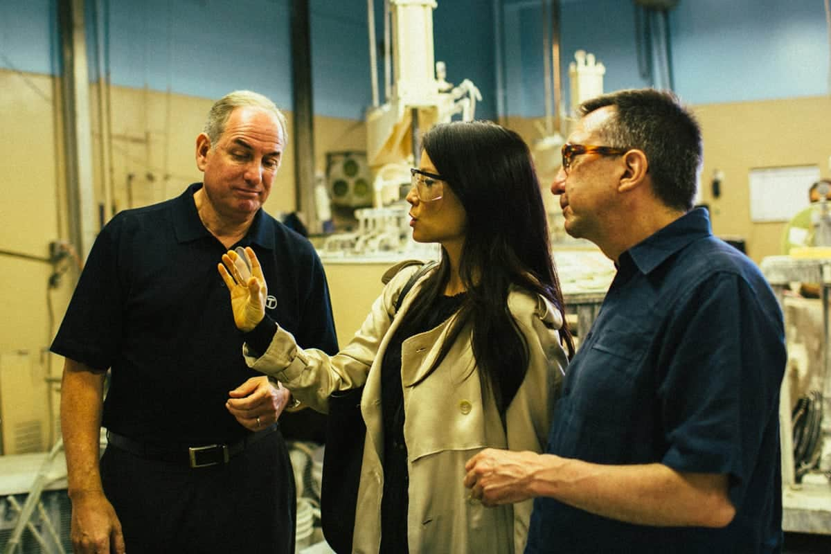 Steven Tiffen, Lucy Liu & Ron Fortunato at the Hauppauge NY Factory