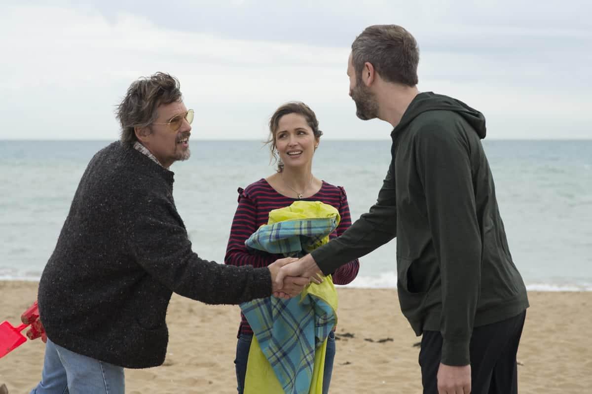 Tucker Crowe (played by Ethan Hawke), Annie Platt (Rose Byrne) and Annie's partner Duncan Thomson (Chris O'Dowd)