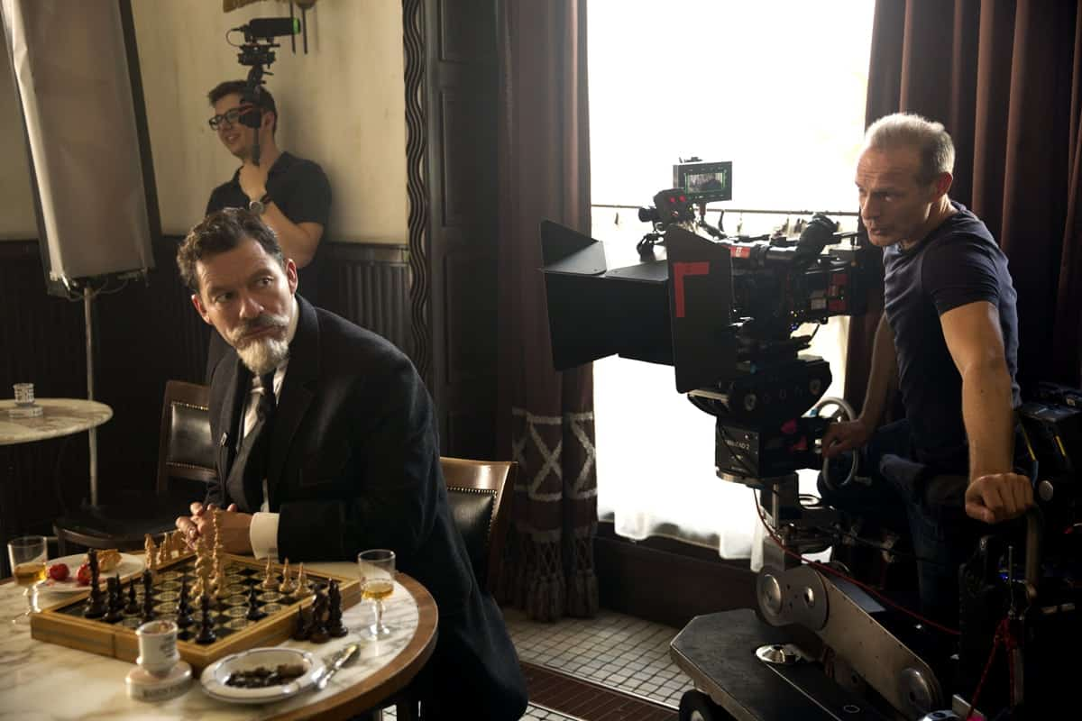 (front) Actor Dominic West and director of photography Giles Nuttgens on the set. Credit: Robert Viglasky / Bleecker Street