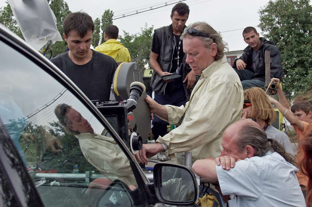 Lining up a stunt shot in Romania