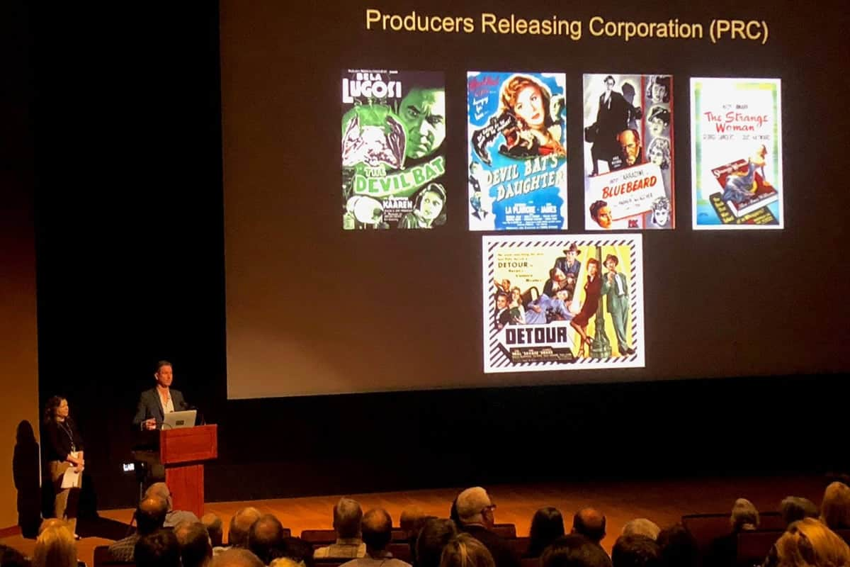 The Reel Thing conference: a presentation by Michael Pogorzelski, from the Academy Film Archive, and  Heather Linville, Library of Congress, on the restoration of the film noir masterpiece, <em>Detour</em>. Photo: Todd Weiner