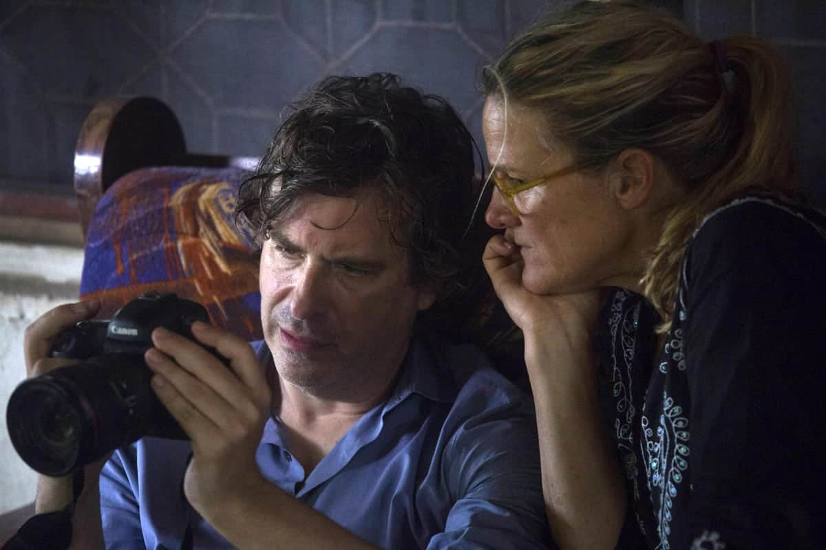 Ellen Kuras, sizing up a shot on <em>Jane</em> with director Brett Morgen. Credit: National Geographic