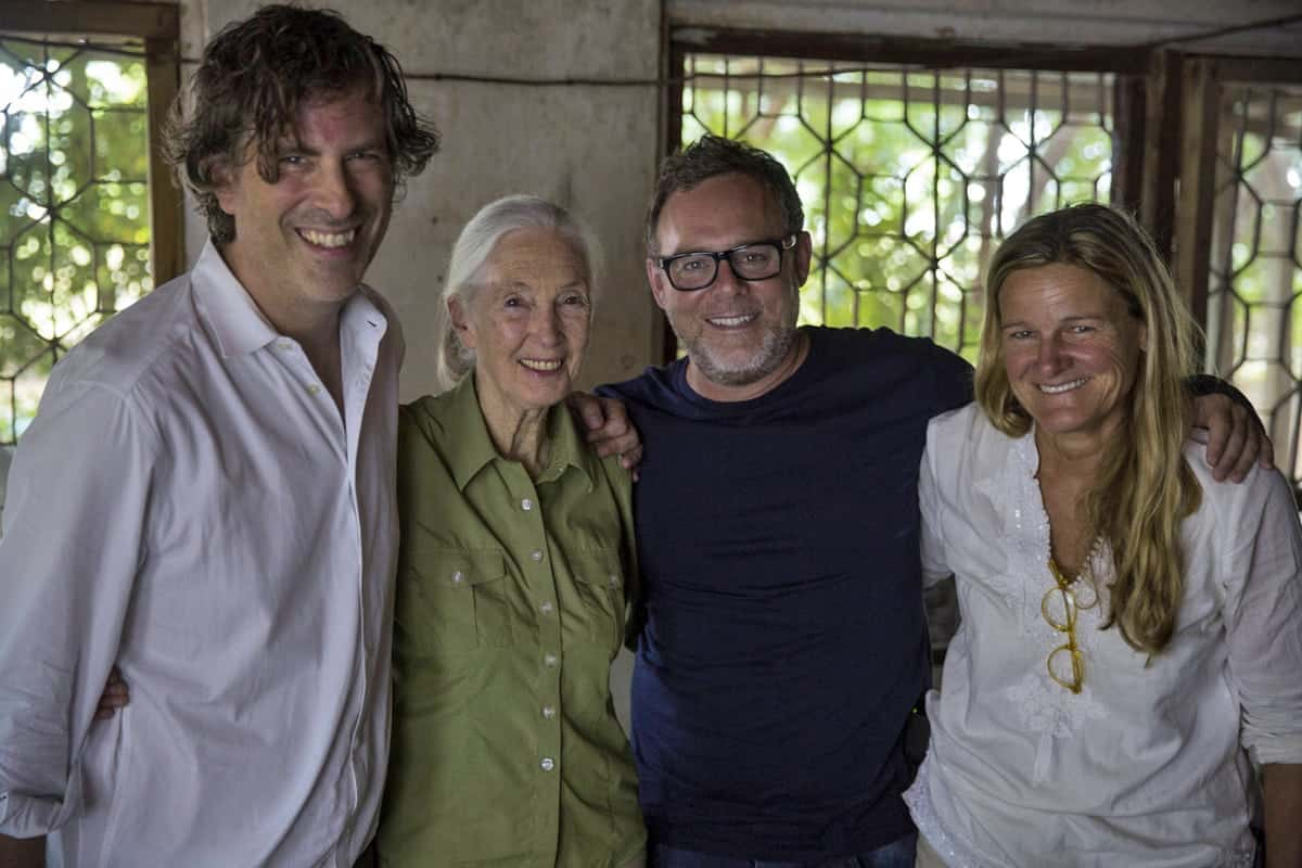 Ellen Kuras (far right) on the set of <em>Jane</em> with director Brett Morgen (far left) and Jane Goodall herself (second left). Credit: National Geographic