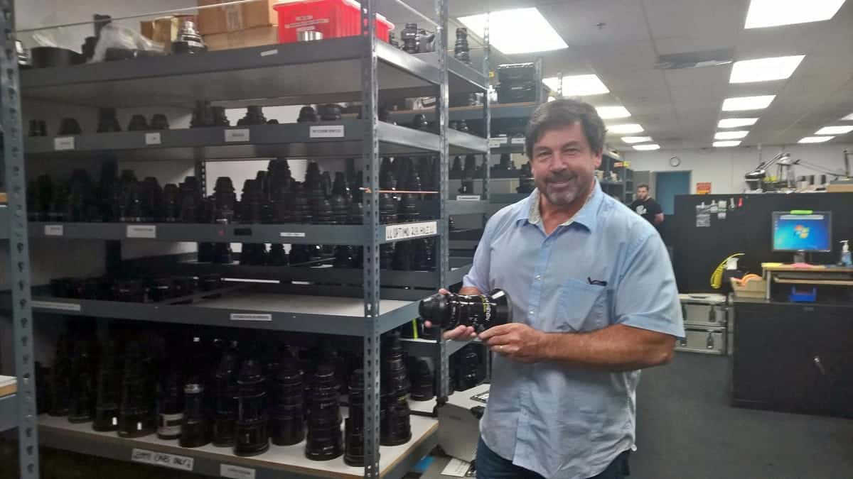 VP and General Manager Dan Hammond showing off the glass at Panavision Hollywood