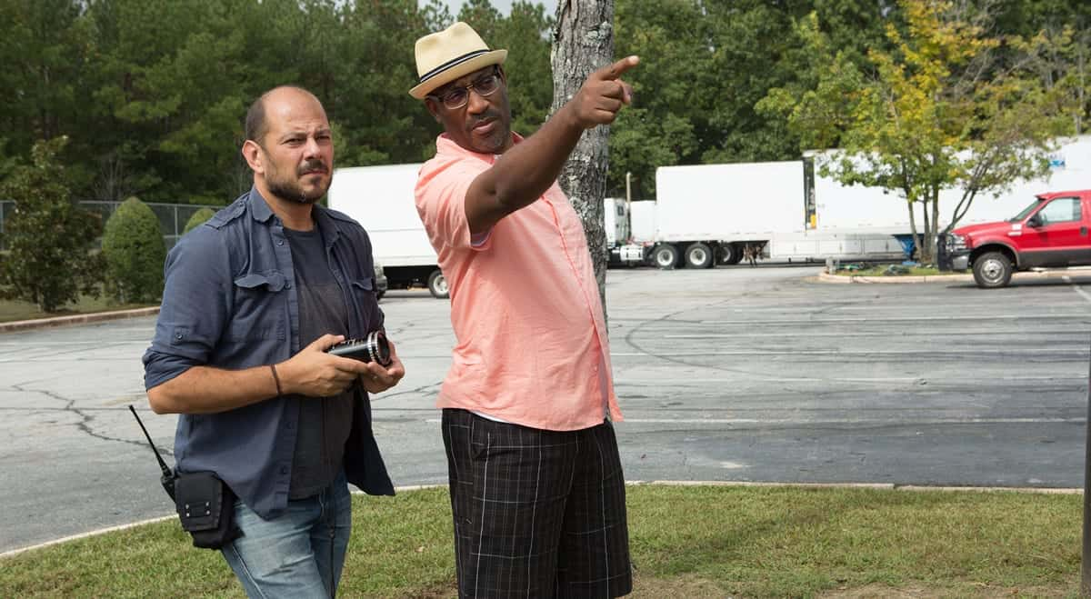 Mihai Malaimare Jr. with director George Tillman Jr. on <em>The Hate U Give</em>. Credit: Daniel McFadden