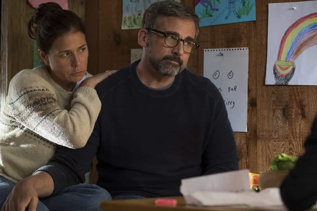 Maura Tierney as Karen Barbour and Steve Carell as David Scheff star in <em>Beautiful Boy</em>