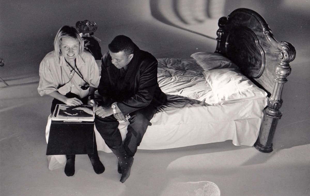 Nina and director Isaac Julien duing production on <em>Looking For Langston</em>