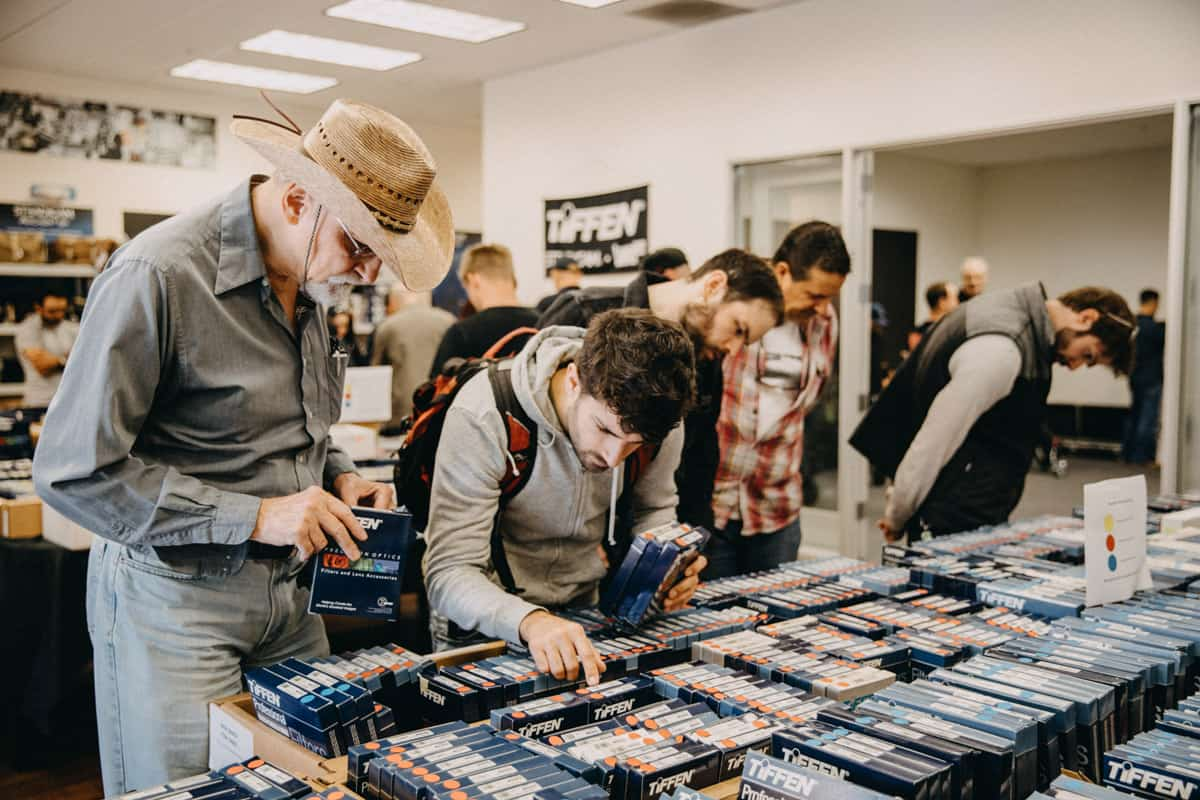 Visitors to the Tiffen office in Burbank pick through nearly 1000 filters offered during their warehouse sale that goes along with the open house