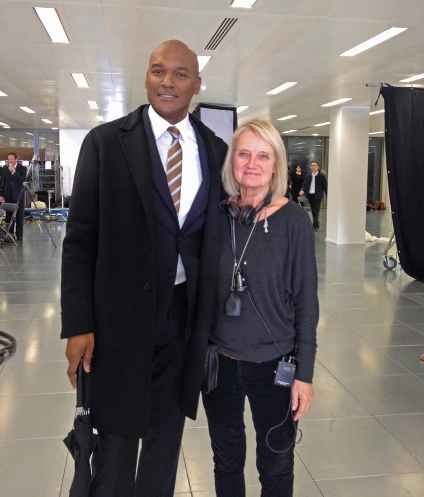 Photographed with Colin Salmon on the set of <em>Playtime Capital</em>