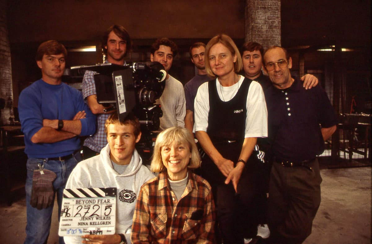 The skilled and talented <em>Beyond Fear</em> crew, inc: (back) Olly Tellett, 1st AC focus; Rupert Lloyd Parry, grip; Nina Kellgren BSC; plus Warren Ewen, gaffer; and his father as best boy. (front) Ed Rutherford, 2nd AC clapper/loader; Jenny Wilkes, director