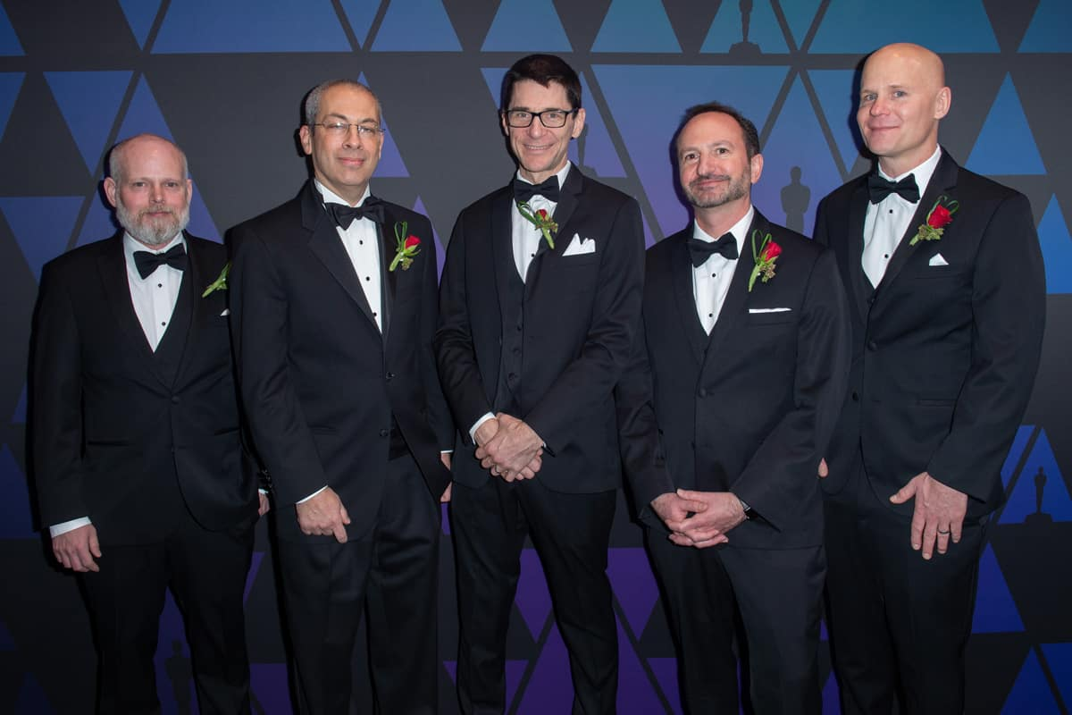 Daniel Wilk, Michael Natkin, David M. Cotter  David Simons,andJames Acquavella prior to the Academy of Motion Picture Arts and Sciences' Scientific and Technical Achievement Awards