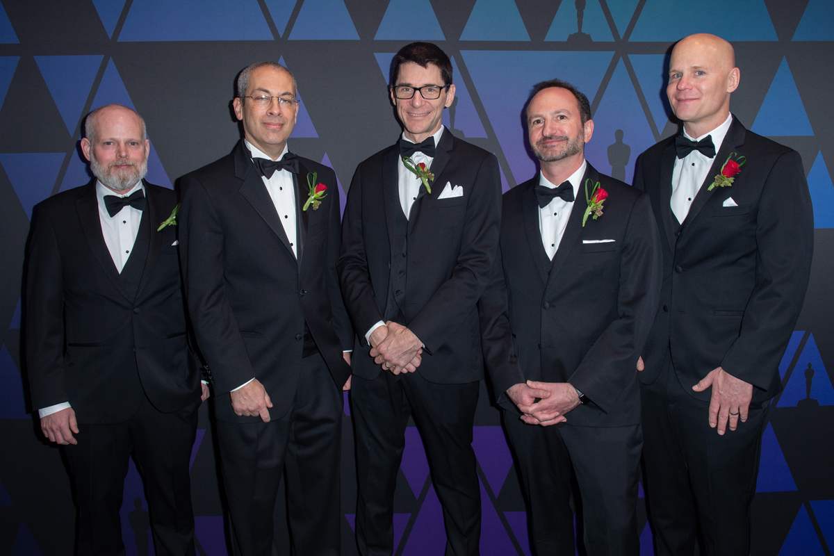Daniel Wilk, Michael Natkin, David M. Cotter  David Simons, and James Acquavella prior to the Academy of Motion Picture Arts and Sciences' Scientific and Technical Achievement Awards