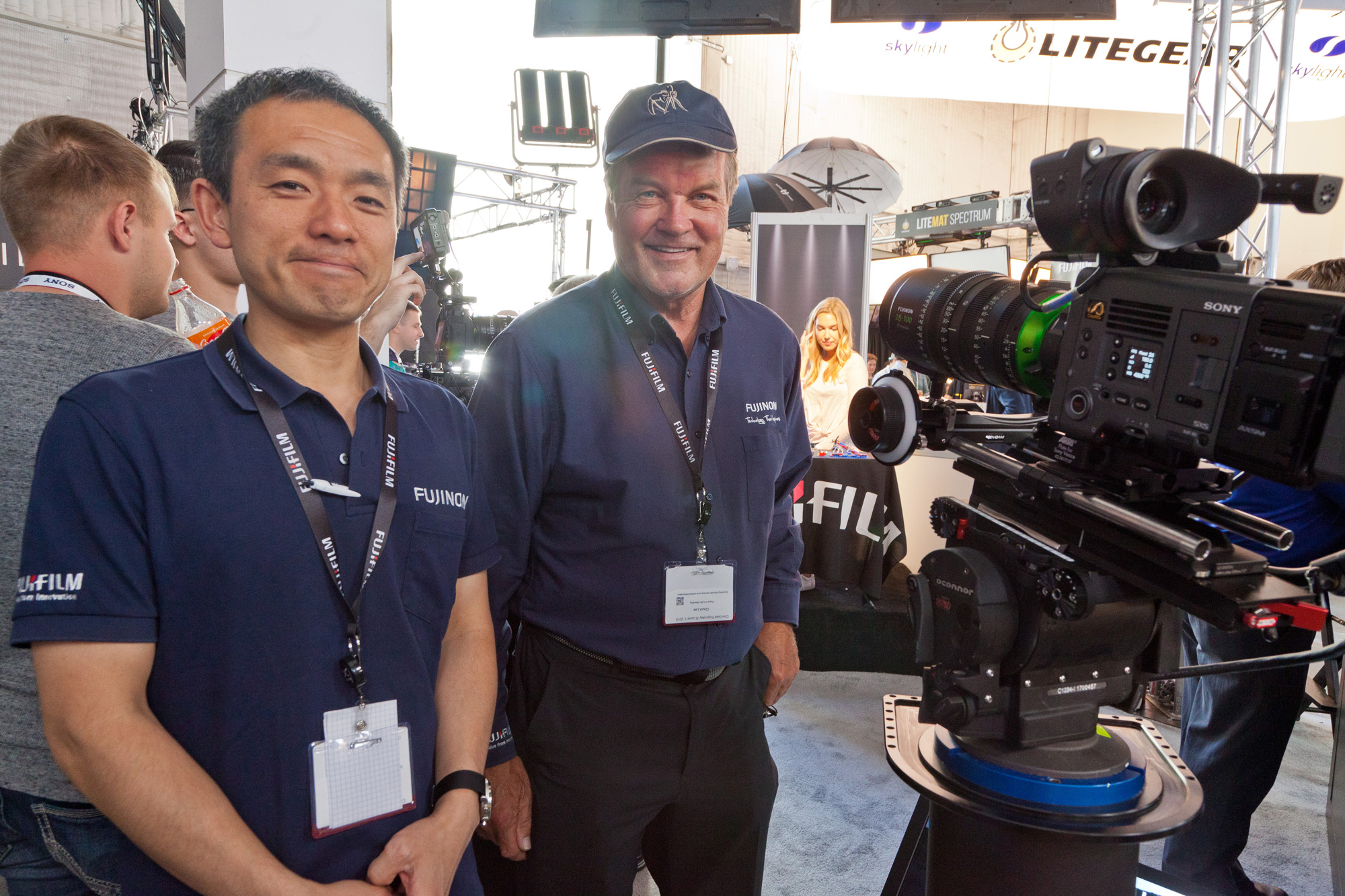 Hideyuki Kasai, Product Manager, Fujinon Europe GmbH & Chuck Lee, Technology Manager, FujiFilm Fujinon. Photo by George Leon/Filmcastlive
