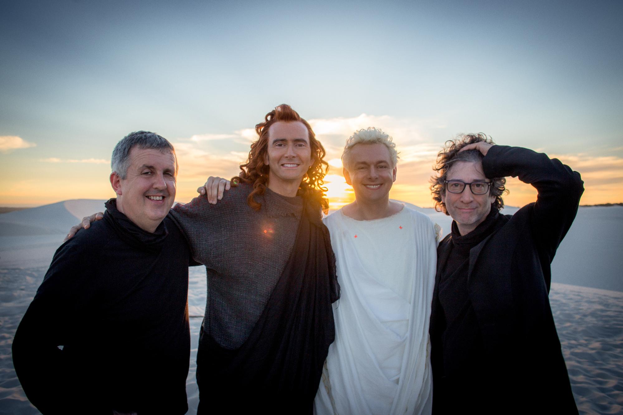 <em>Good Omens</em> director Douglas Mackinnon, stars David Tennant and Michael Sheen, and author Neil Gaiman