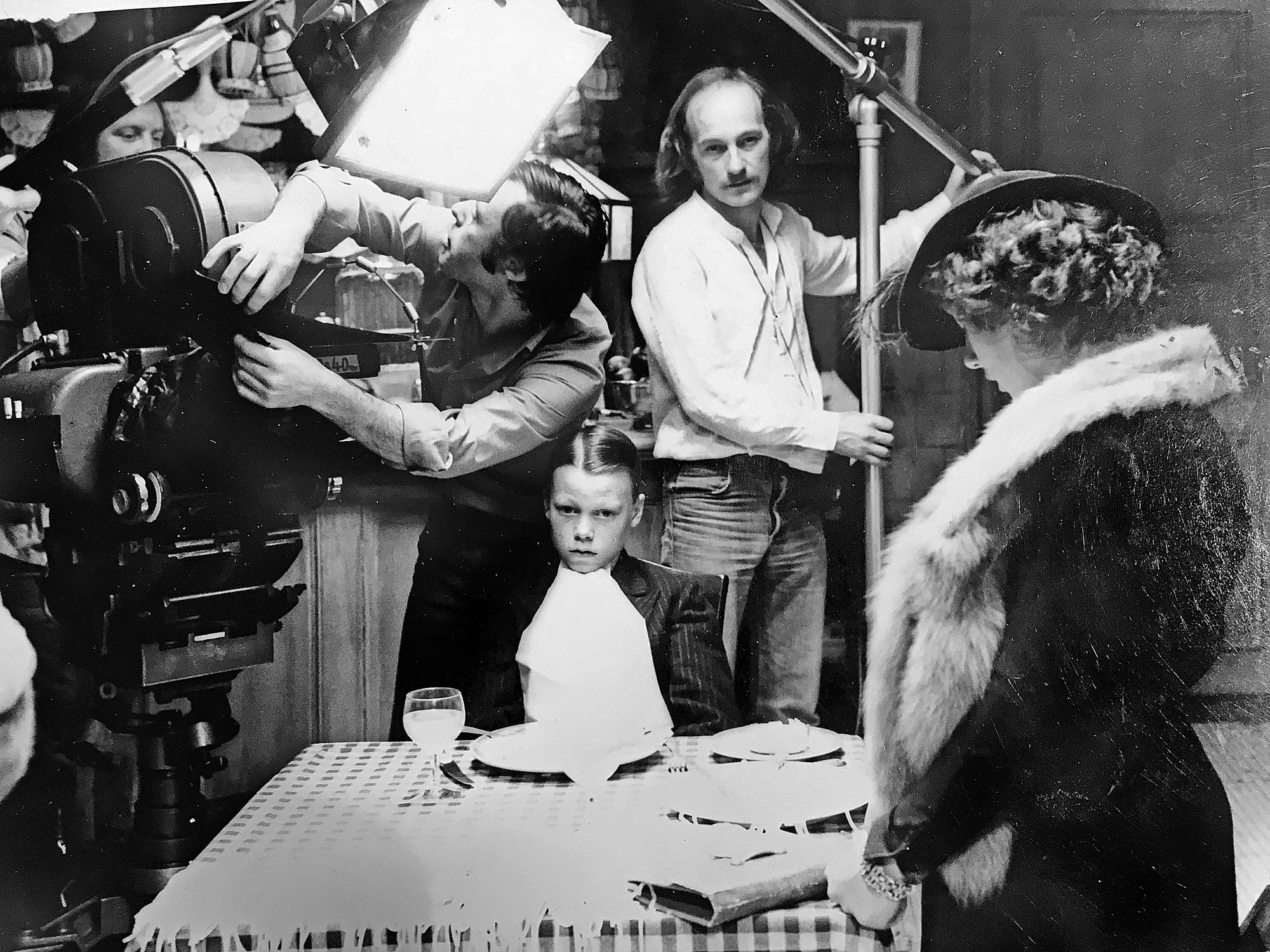 Peter Biziou and Brian Harris (excellent focus) with John Stanier ('a great op') behind the camera on <em>Bugsy Malone</em>