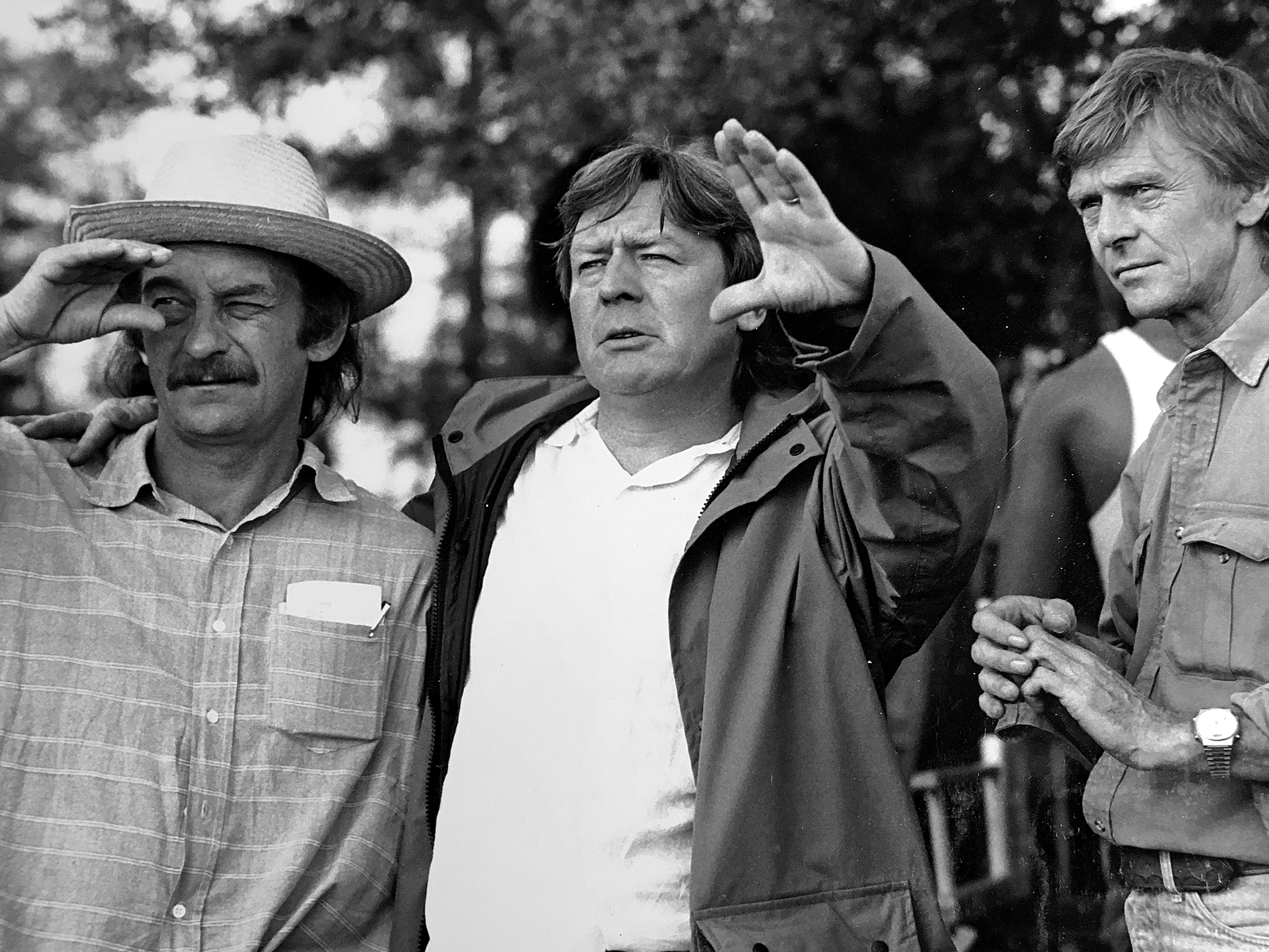 (l-r) Peter Biziou, Alan Parker and Mike Roberts on <em>Mississippi Burning</em>