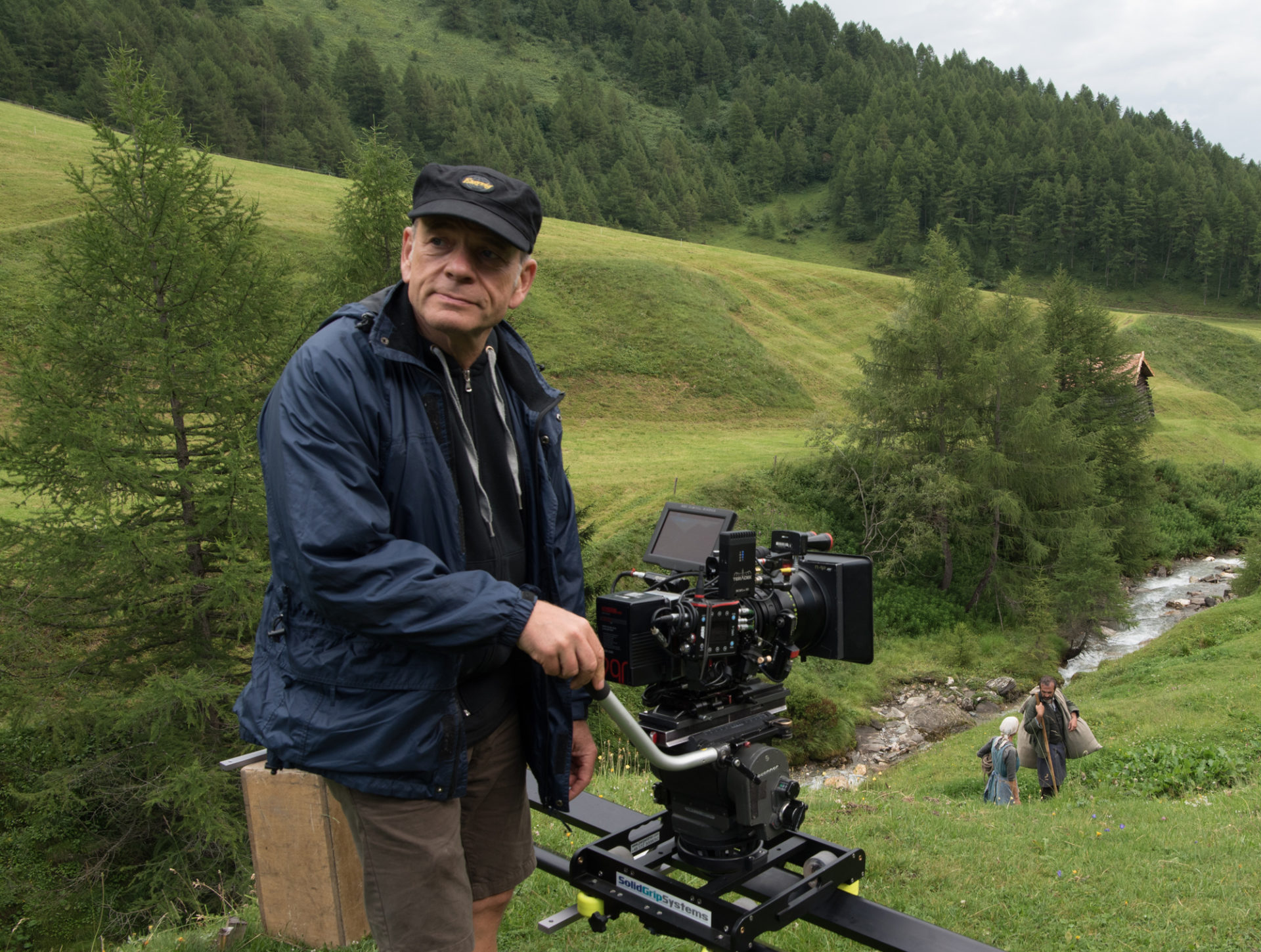 Director of Photography Joerg Widmer on the set of <em>A Hidden Life</em>. Photo by Reiner Bajo