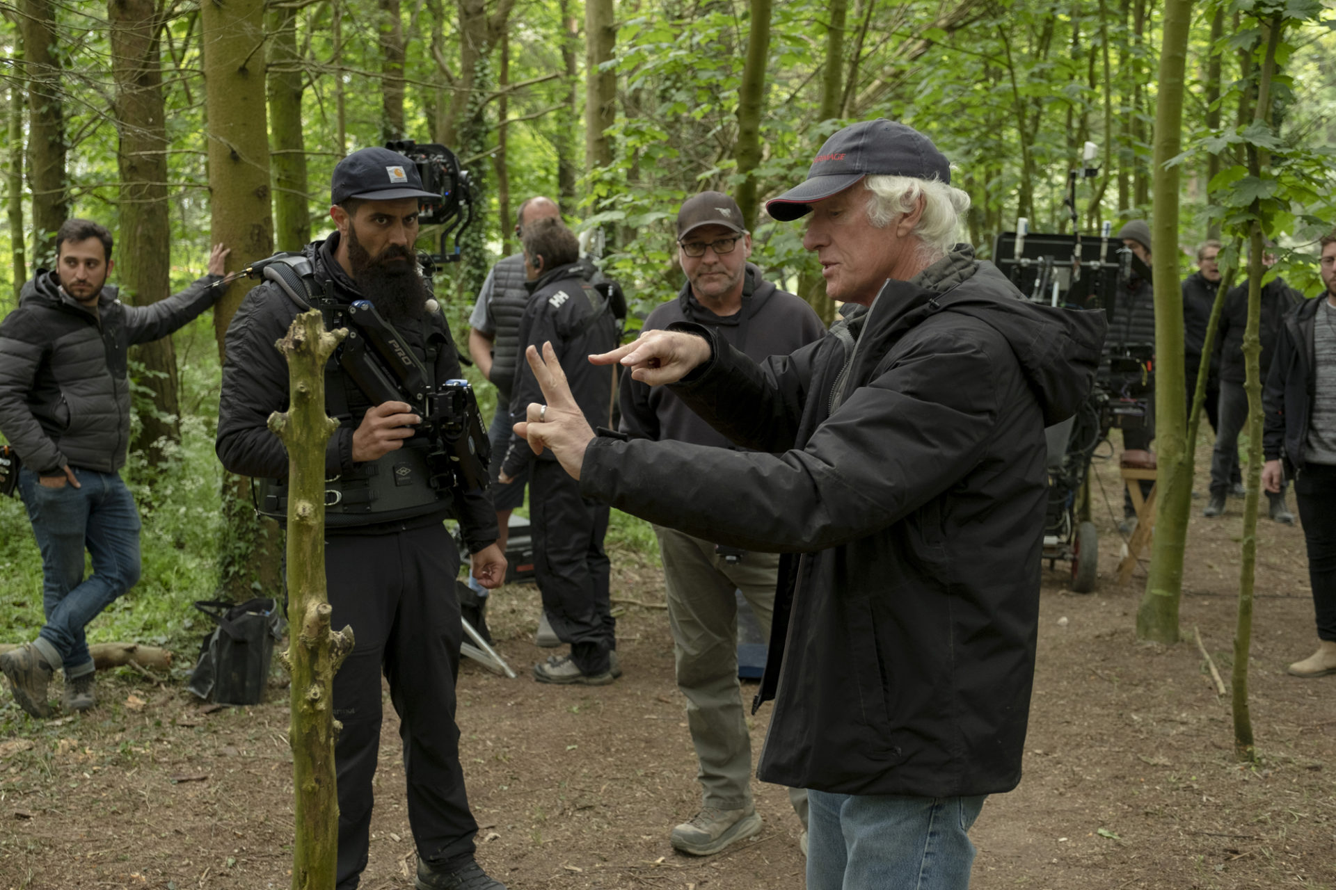 Roger Deakins CBE BSC ASC gets the message across on the set of <em>1917</em>. Credit: Francois Duhamel