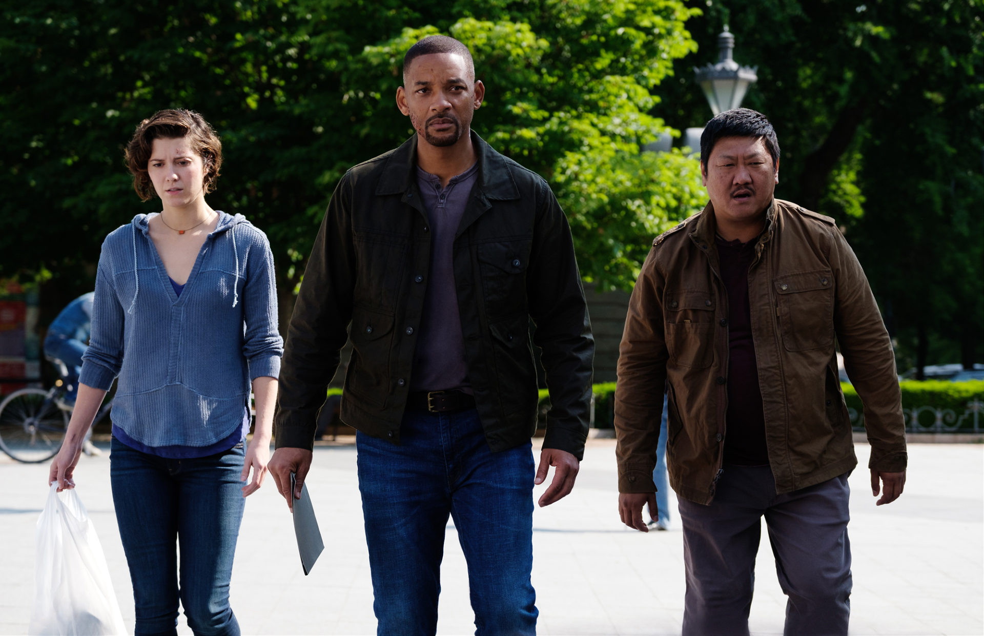 Mary Elizabeth Winstead, Will Smith, and Benedict Wong in Gemini Man from Paramount Pictures, Skydance and Jerry Bruckheimer Films.