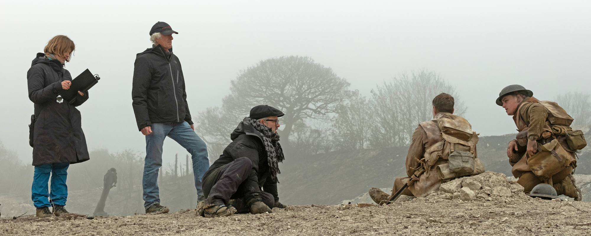 (from left) Script supervisor Nicoletta Mani, DP Roger Deakins, director/co-writer Sam Mendes, George MacKay as Schofield and Dean-Charles Chapman as Black