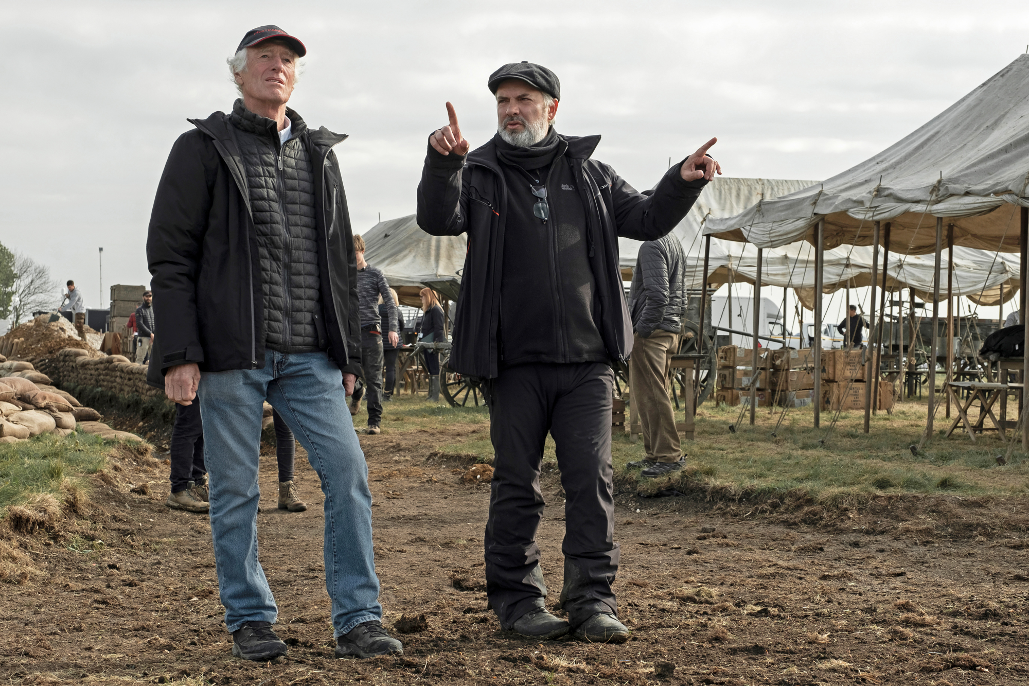 "(from left) Director of photography Roger Deakins and director Sam Mendes on the set of Mendes' new epic, ""1917."""