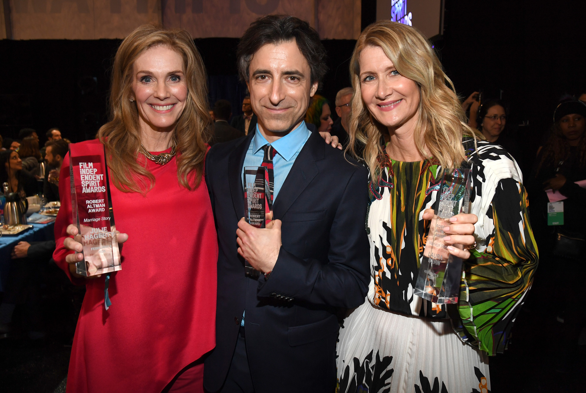 (L-R) Julie Hagerty, Noah Baumbach and Laura Dern, recipients of the Robert Altman Award (Best Ensemble) for <em>Marriage Story</em> attend the 2020 Film Independent Spirit Awards (Photo by Kevin Mazur/Getty Images for Film Independent)