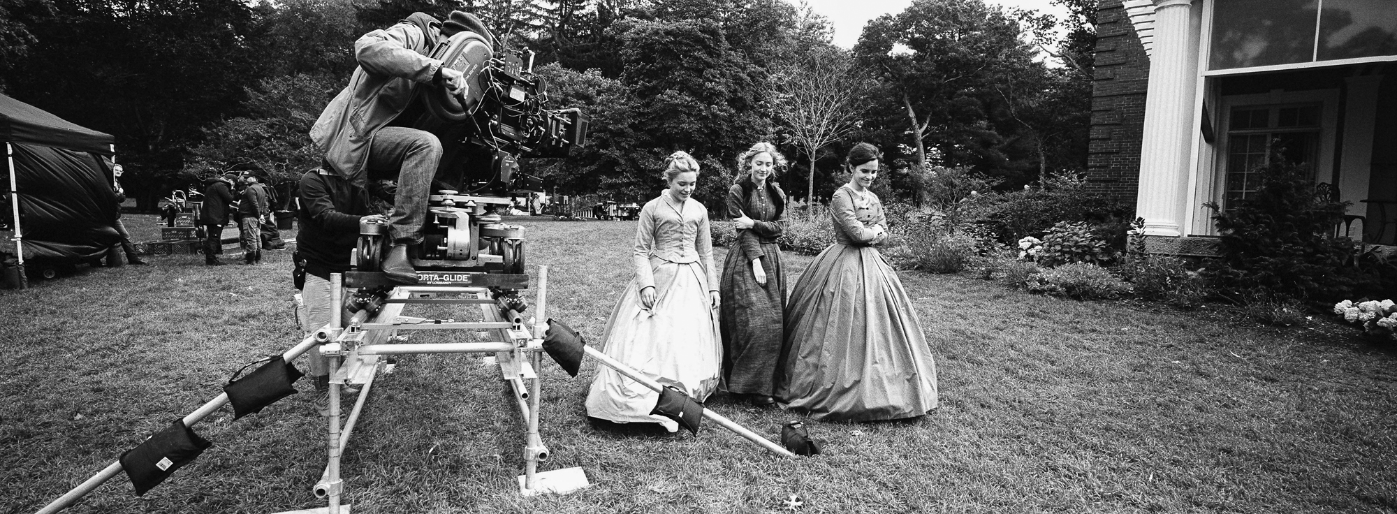 BTS:  DP Yorick LeSaux  Meg March (Emma Watson)  Jo March (Saoirse Ronan)  Amy March (Florence Pugh) on the set of Greta Gerwig's LITTLE WOMEN.   Location:  Bradley Estate  Canton  MA""