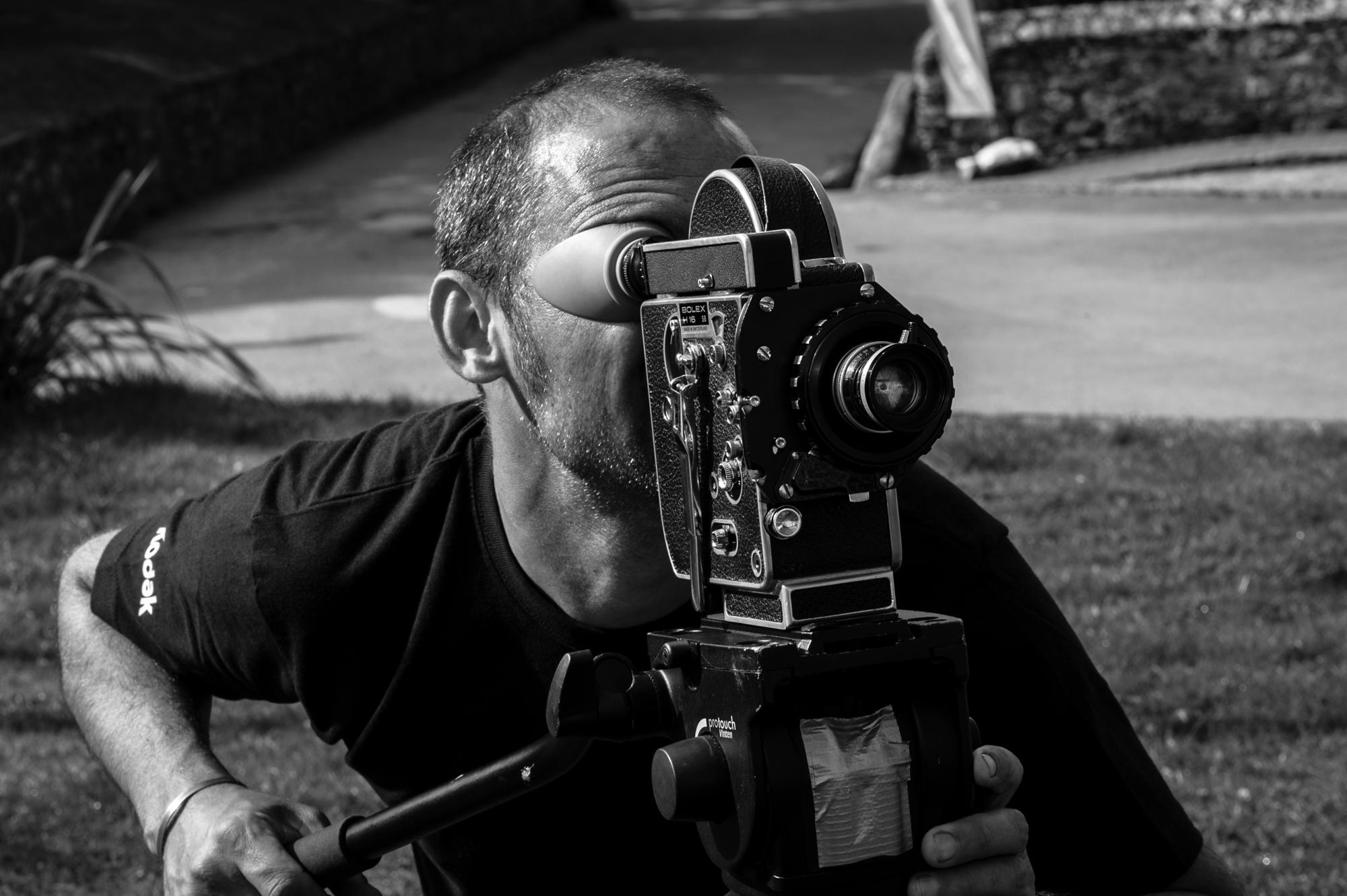 Director Mark Jenkin operating the Bolex camera. Photo:Thom Axon