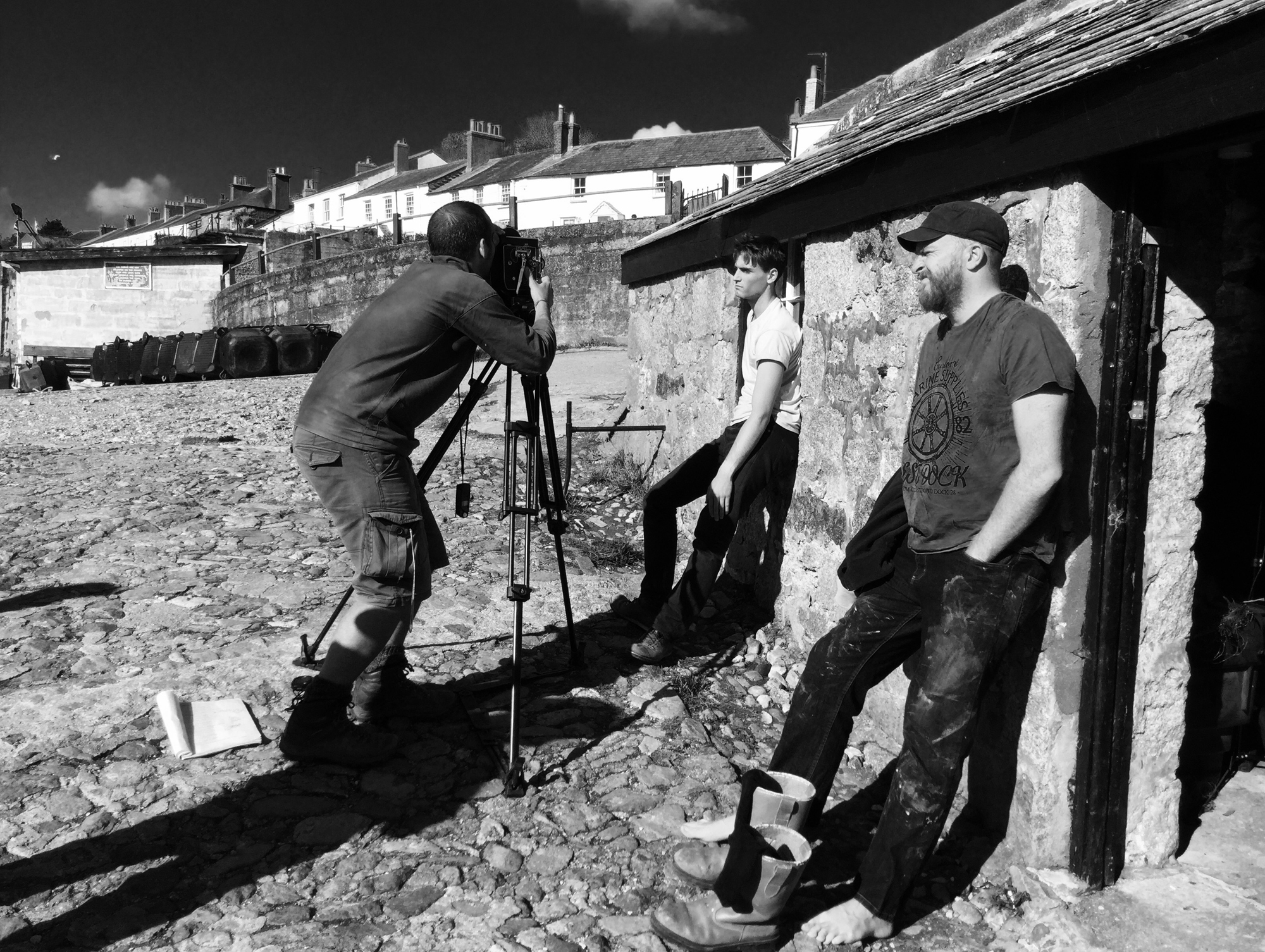 On set in Charlestown (l-r): Mark Jenkin, Isaac Woodvine, Edward Rowe. Photo: Early Day Films