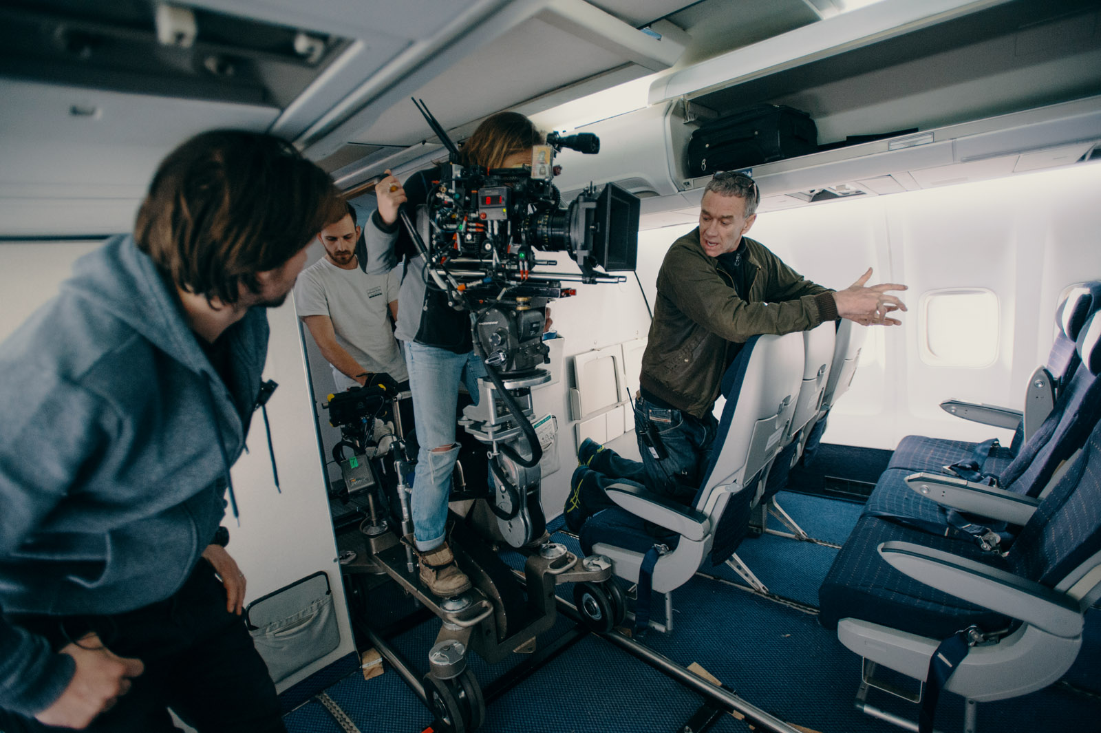 Cinematographer Oona Menges_1st AD_Gaffer - Behind the scenes - Inside Airplane - London - photo credit Ashley Kingsbury