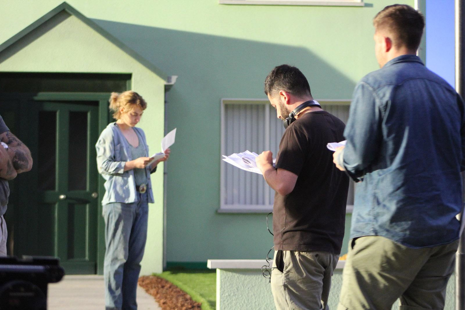 0116 BTS Imogen Poots (Gemma), Lorcan Finnegan (Director) and crew - John McDonnell