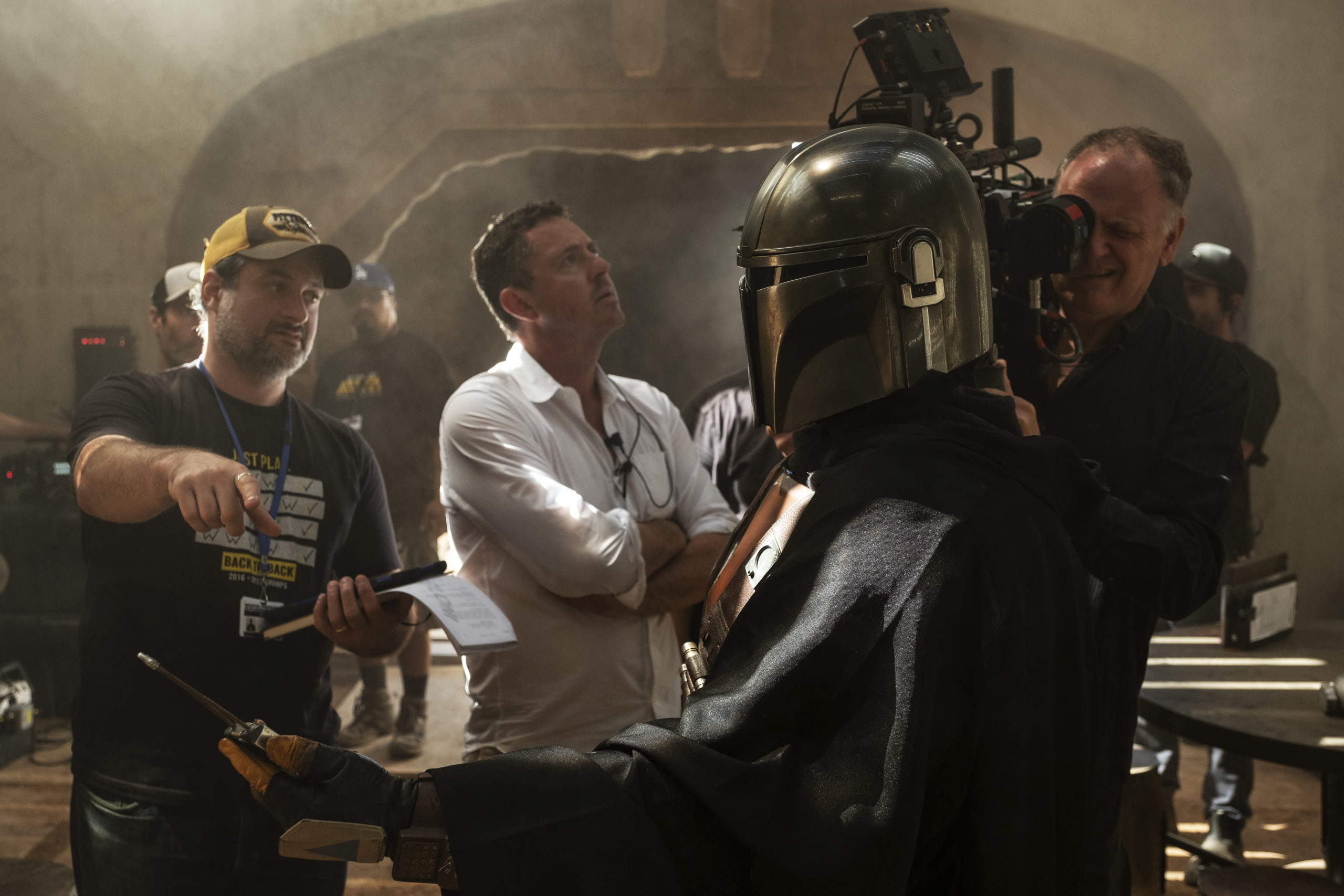 Dave Filoni, Greig Fraser, ASC, ACS, and Baz Idoine on the set of The Mandalorian