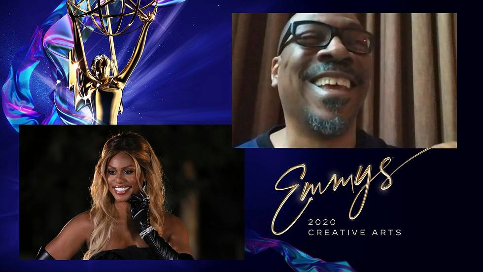 Laverne Cox presents the Emmy for Outstanding Guest Actor In A Comedy Series to Eddie Murphy as part of this year's virtual awards