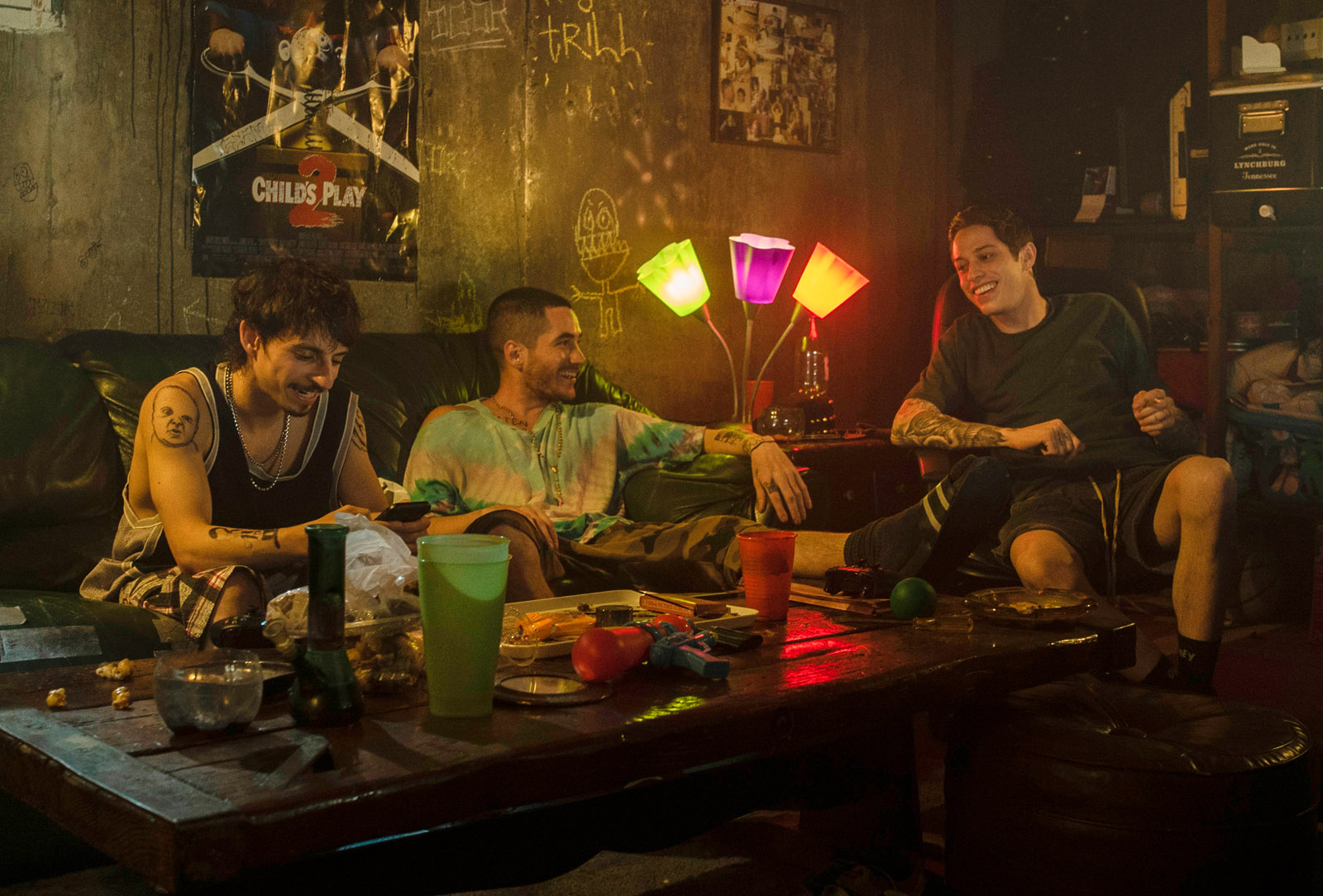 (from left) Igor (Moises Arias), Oscar (Ricky Velez) and Scott Carlin (Pete Davidson) in The King of Staten Island, directed by Judd Apatow.