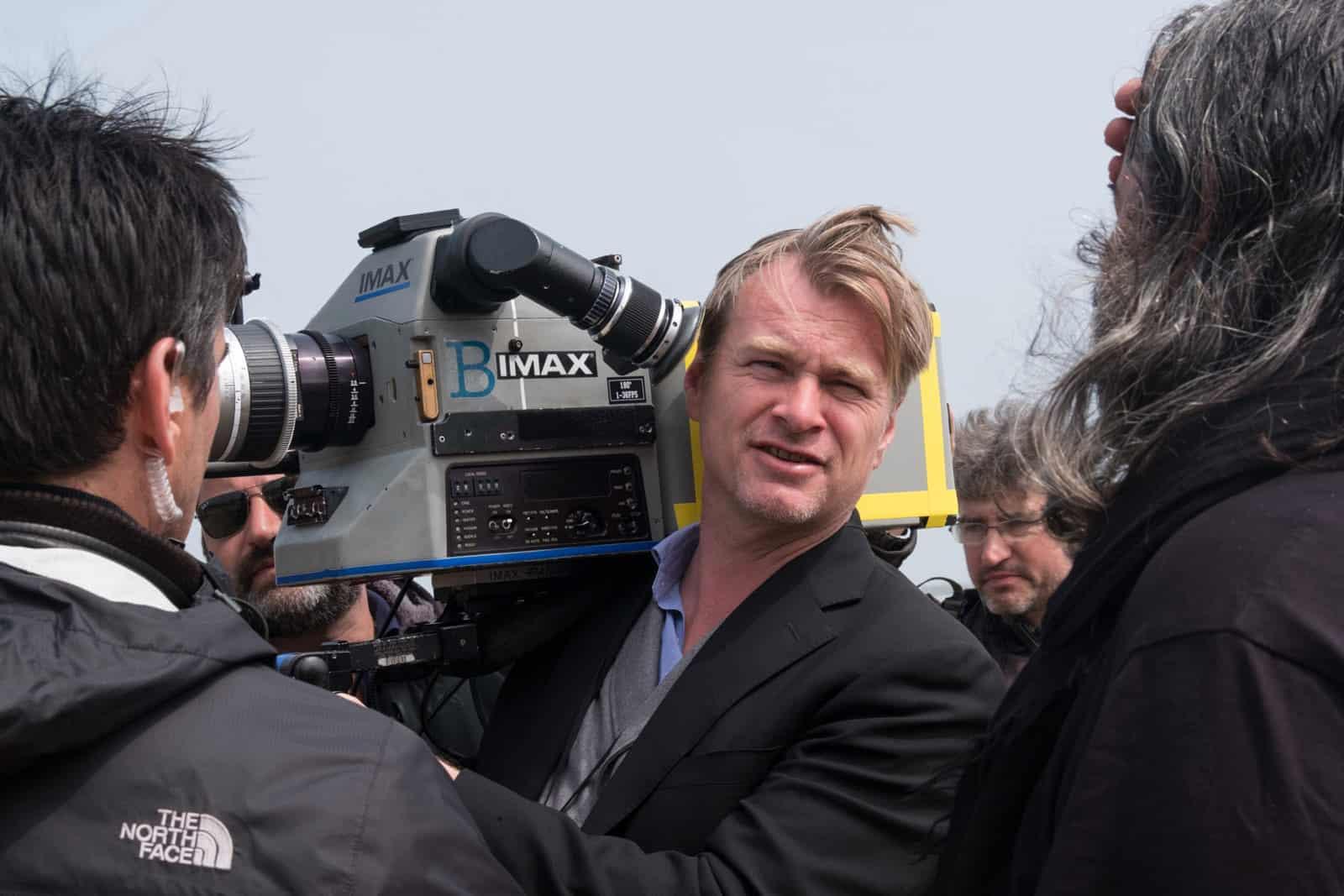 Director Chris Nolan during Dunkirk (2017), shot on IMAX 65mm and 65mm large-format film by DP Hoyte Van Hoytema FSF NSC ASC