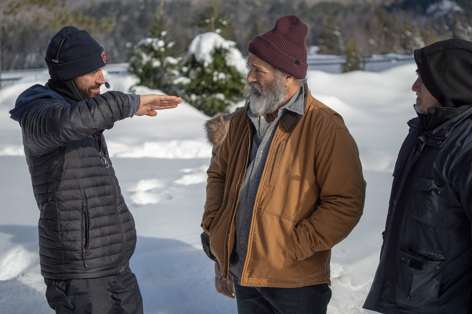 DP Johnny Derango (left) during filming holiday film Fatman