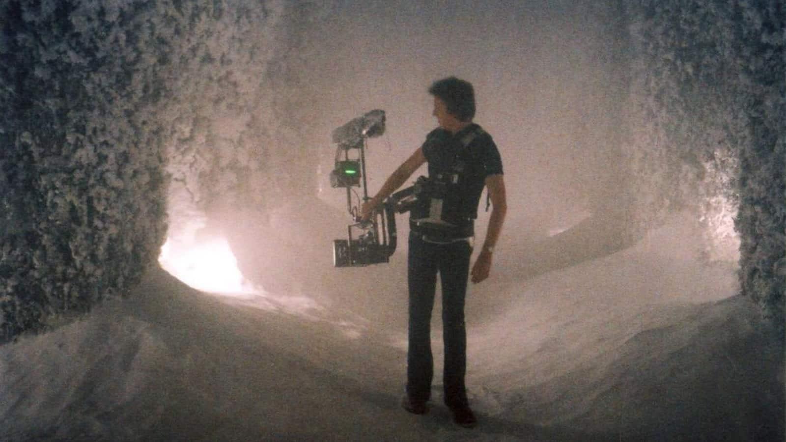 Garret Brown using Steadicam on <em>The Shining</em>