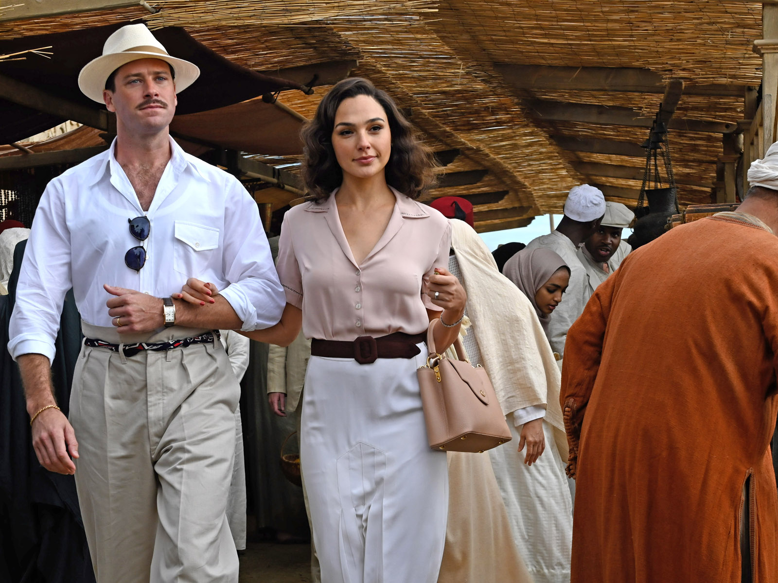 Armie Hammer as Simon Doyle and Gal Gadot as Linnet Ridgeway in 20th Century Studios' DEATH ON THE NILE, a mystery-thriller directed by Kenneth Branagh based on Agatha Christie's 1937 novel. Photo by Rob Youngson. © 2020 Twentieth Century Fox Film Corporation. All Rights Reserved.