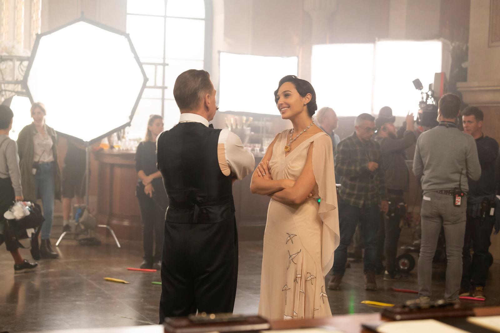 Director Kenneth Branagh and Gal Gadot on set (credit: Rob Youngson)