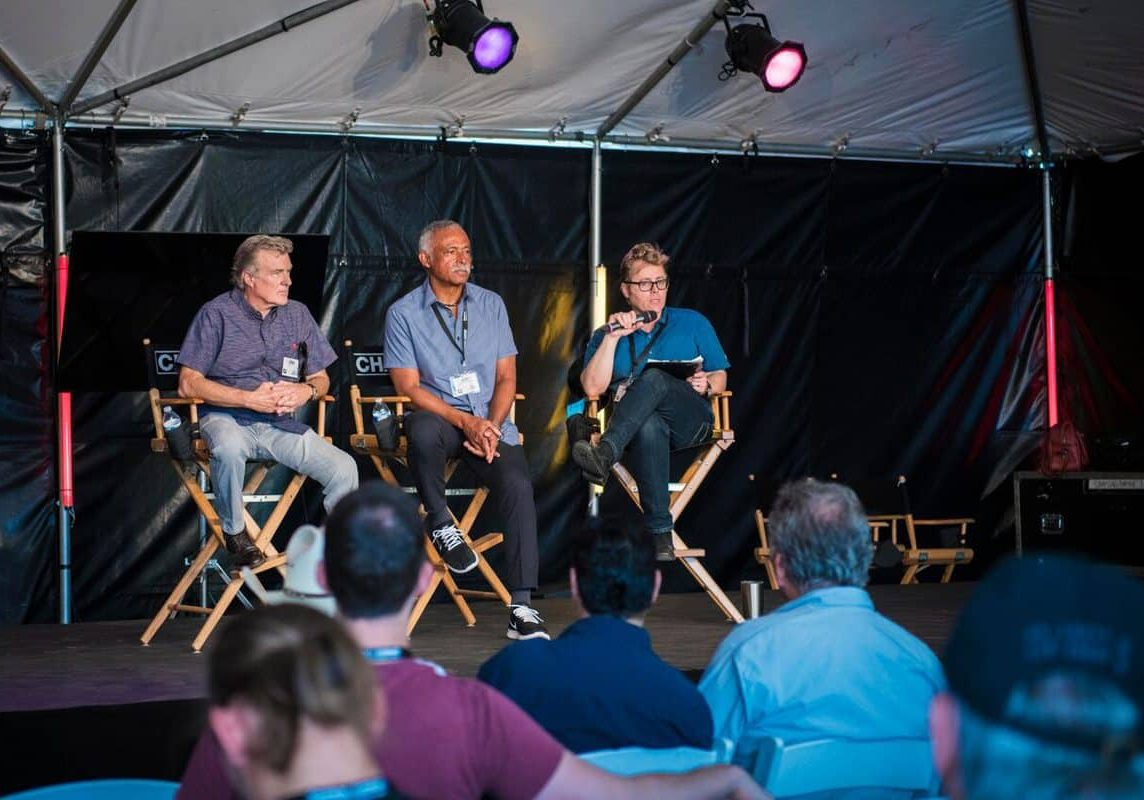 The Chapman-Leonard Diversity Panel headed by (l-r): John Newby ASC, Donald A. Morgan, Patrick Cady ASC