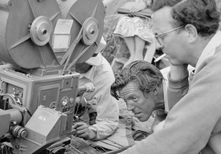 Douglas Slocombe (right) looks on as Charles Crichton checks the set-up on The Titfield Thunderbolt (credit: Studiocanal)