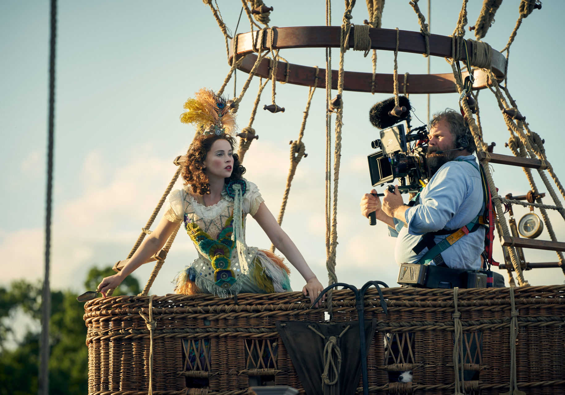 Felicity Jones with Cinematographer  George Steel on the set of THE AERONAUTS