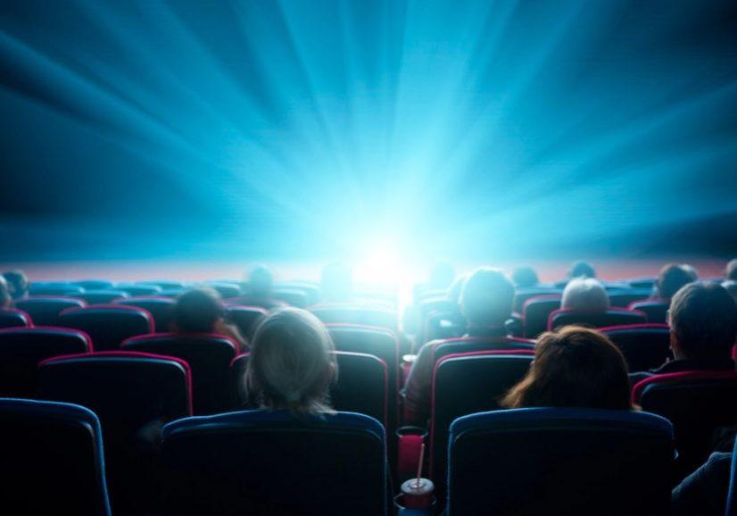 viewers watch shining light in the cinema