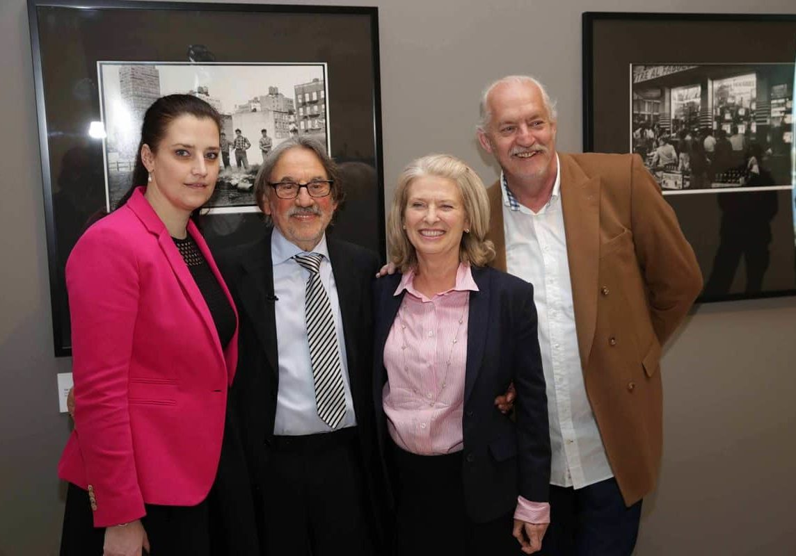 "Judit Romwalter, Vilmos Zsigmond, Susan Zsigmond and Richy Romwalter at the opening of ""Photographed by Vilmos Zsigmond"" exhibition in the Ludwig Muzeum, Budapest, in 2015. Photo by Marianna Sárközy."